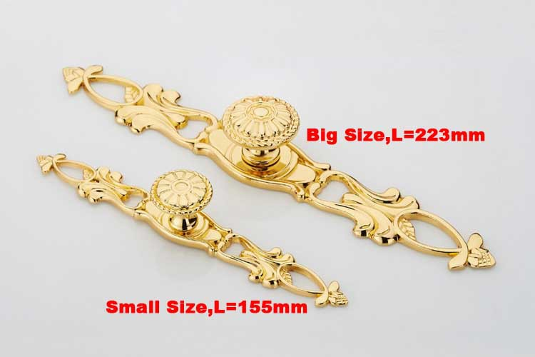 Gold plated LUXURY Zinc alloy cabinet handle drawer pull L=223mm<br><br>Aliexpress