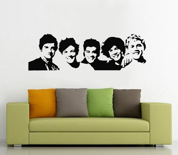 One Direction 1D silhouette young Idoi modern Band adhesive wall sticker vinyl art decal house decor youth room decoration(China (Mainland))