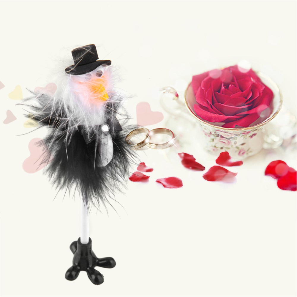 1Pc Bride & Groom Ostrich Wedding Reception Guest Book Pen Fun Feather Set Gift(China (Mainland))