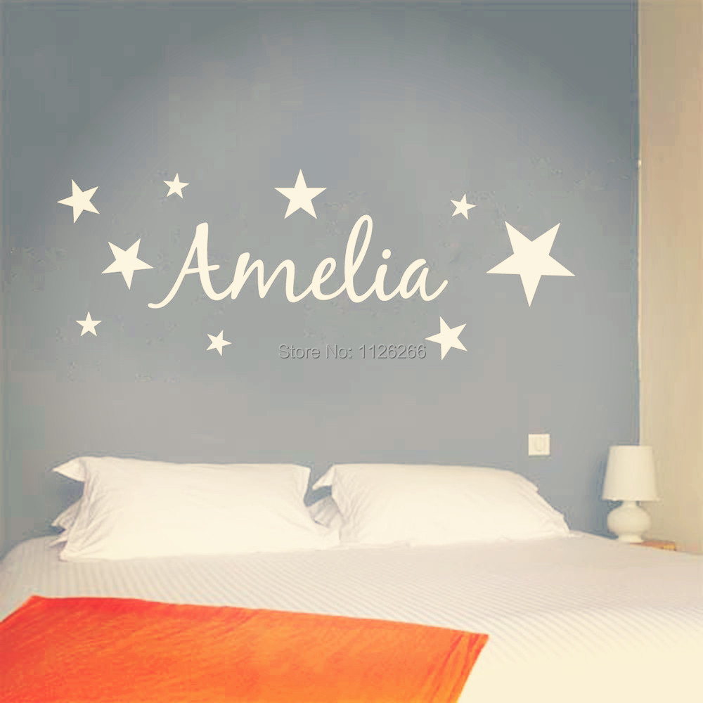 Customer made vinyl wall sticker personalized name with for Childrens wall mural stickers