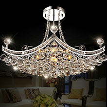Free Shipping 6 Heads Luxury K9 Crystal Chandelier Lighting Fixture Crystal E14 LED Modern Crystal Chandelier(China (Mainland))
