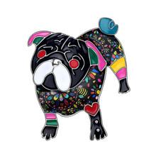 Bonsny Dichiarazione Dello Smalto Della Lega Unico Pug Dog Spille Abiti di Moda Sciarpa Della Decorazione Dei Monili Spille Per Le Donne Ragazze Regalo Bijoux(China)