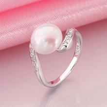 Genuine Shell Pearl Ball Elegant Lady White Gold Wedding Jewelry Style rings r016 gift box 2015 New Fashion(China (Mainland))