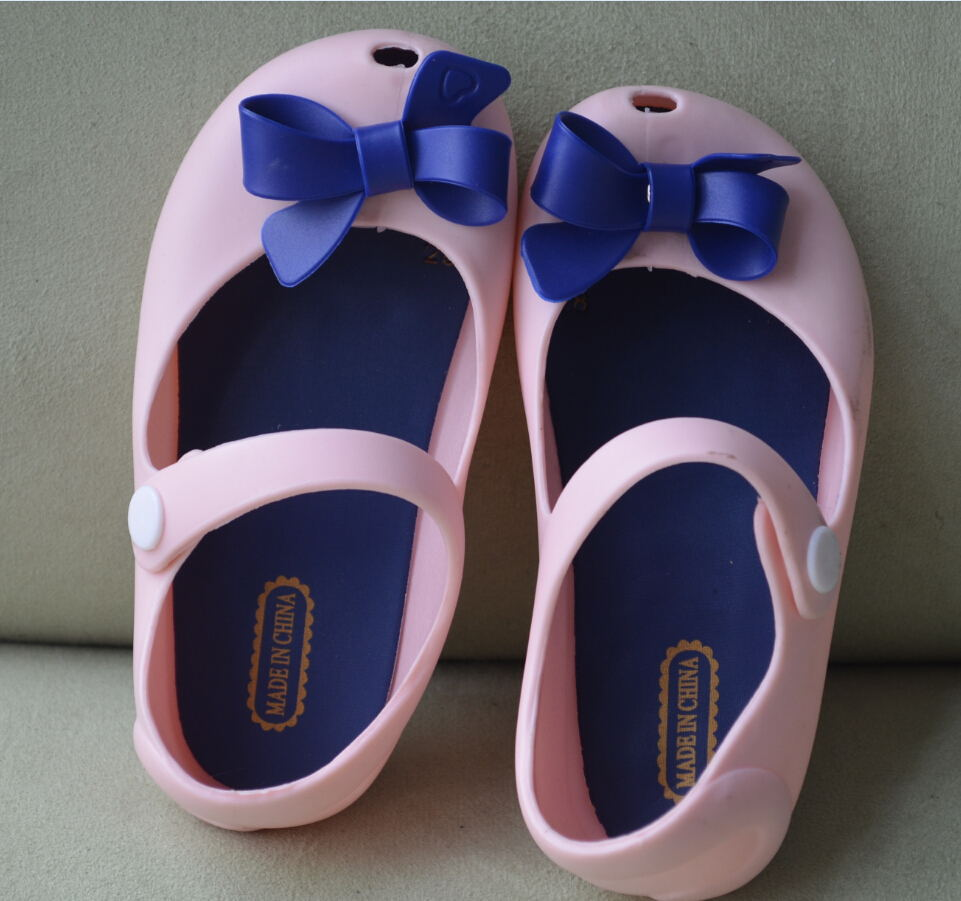 2015 girl Shoes For kids New Limited Strap Baby Rubber Mini Melissa Cute Bow Sandals Children