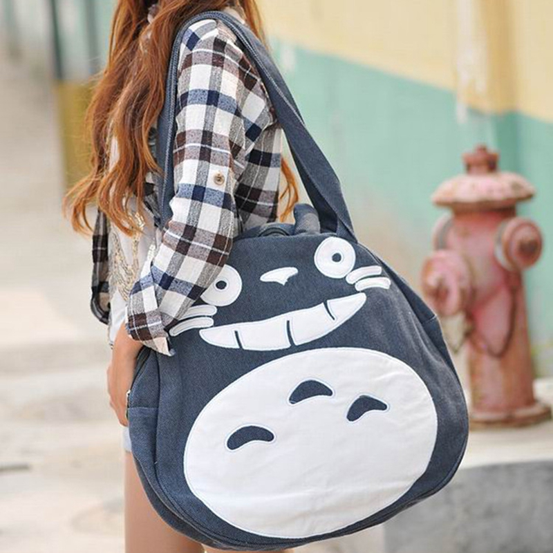 2015 Super Funny Cute Totoro Bag Large Women Canvas Bag Cartoon Shoulder School Bags for Teenage Girls L989(China (Mainland))