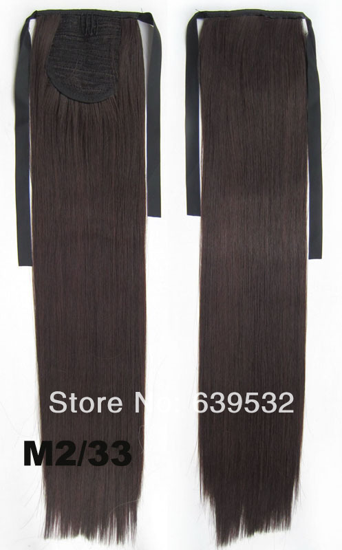 Ribbon ponytail straight heat resistance synthetic fibre hairpieces, Drawstring Ponytail Extension Ponytail Wig M2/33 Pony tail(China (Mainland))