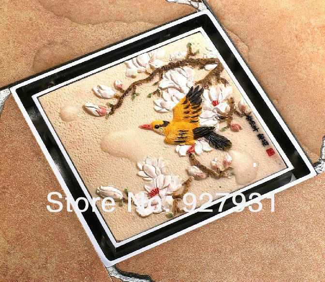 Free Shipping Wholesale and Retail Luxury Birds & Blooms BathrooM Artistic Floor Drain Cover Shower Water Strainer(China (Mainland))