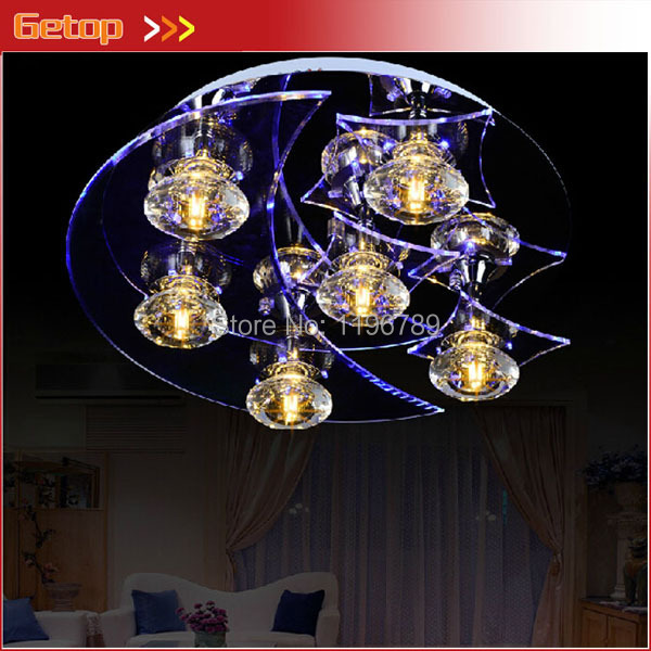 Best Price New Deluxe LED Modern Crystal Chandelier D45*H13CM With 6 Lights Living Room/Bedroom Free Shipping(China (Mainland))