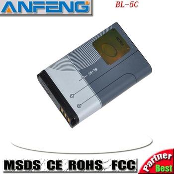 1000mAh BL-5C Battery For Nokia 2710 6822 7600 C1-00 1-01AKKU Accumulator Batterie Free Shipment )