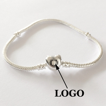 17-20cm DIY love heart clip with copper and silver plate basics chain apply to fit Pandora style charms bracelet freeshipping(China (Mainland))