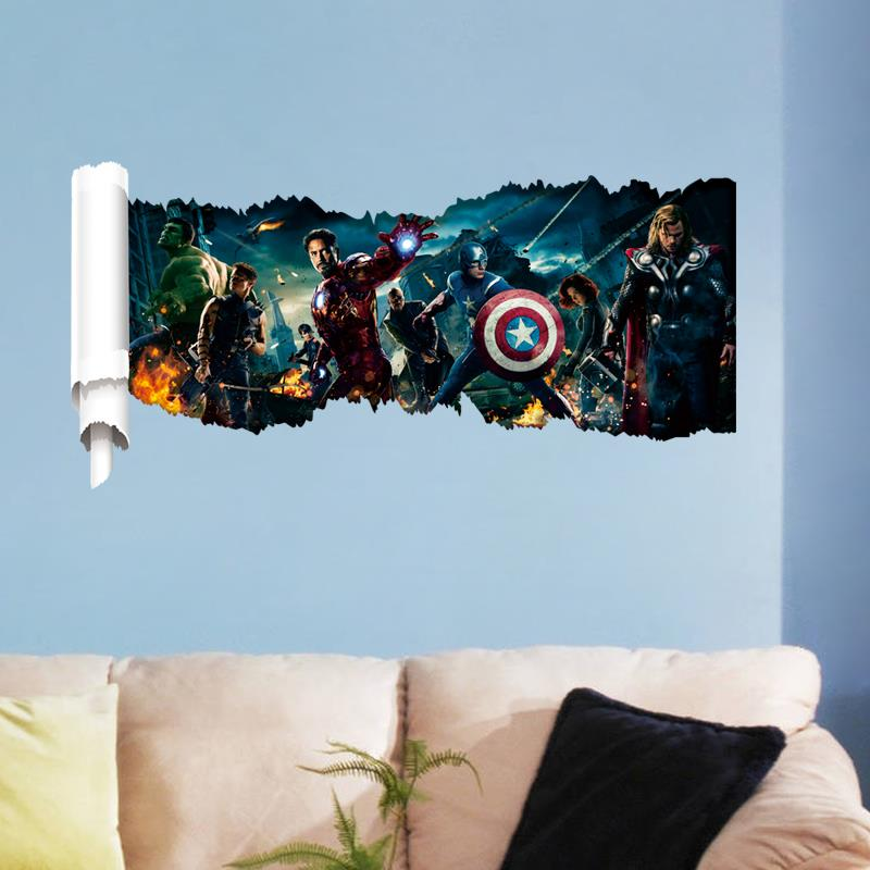 Super hero america captain wall stickers decor 1432 diy for Chinese movie mural