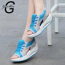 2016 Ladies Platform Sandals Sandalias Summer New Fish Head Sandals Women Sandals Shoes Muffin Zapatos Mujer Wedges Sandalet