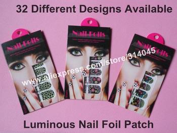 100X 32 Different Styles Available LUMINOUS Nail Foil Patch Nail Wraps Decoration Sticker Salon Express KG001-032