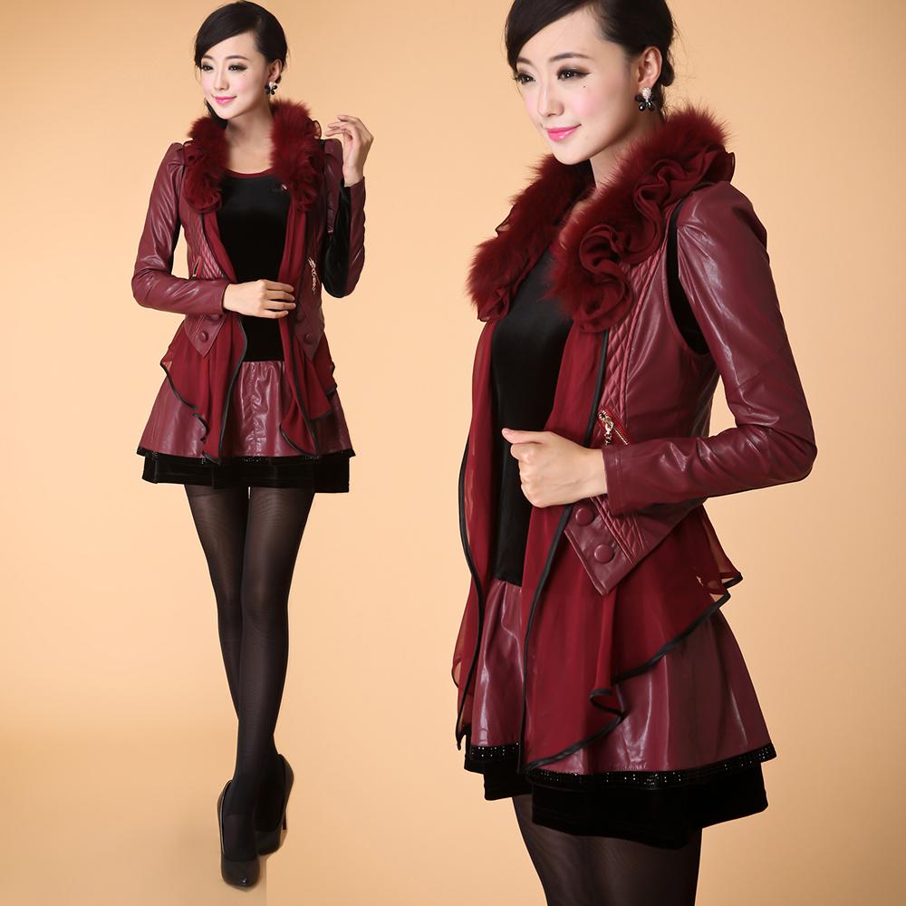 winter new slim pu leather skirt suit sleeve