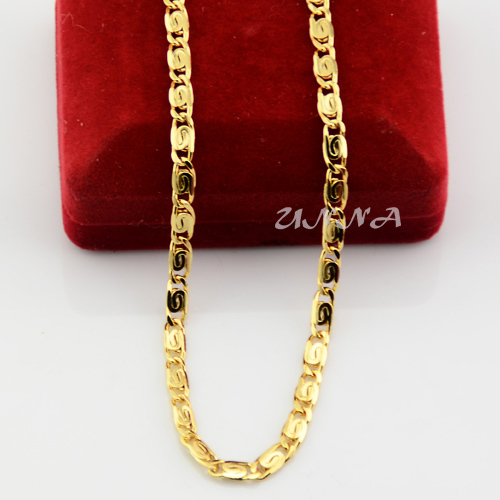 Unisex Mens Womens 4mm 18K Solid Yellow Gold Filled Chain Link Snail Necklace 50cm 60cm UN005011807(China (Mainland))