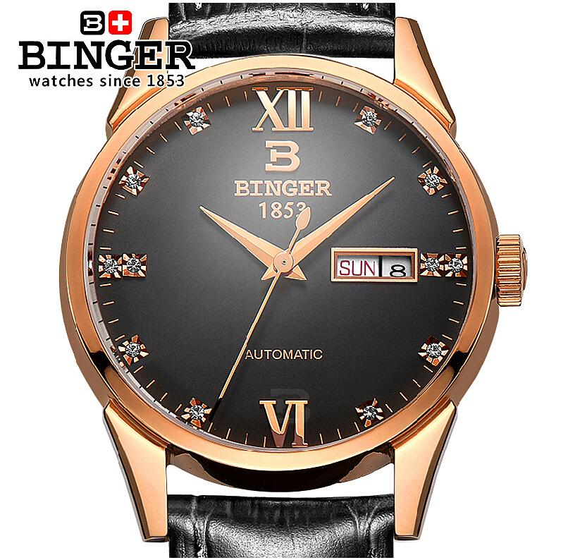 Switzerland watches men luxury brand Wristwatches BINGER 18K gold Automatic self-wind full stainless steel waterproof  B1128-11<br><br>Aliexpress