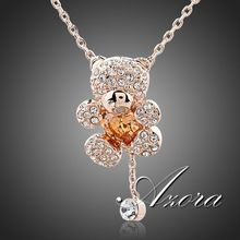 Cute Girl! 18K Rose Gold Plated Rhinestones and Heart Shape Zircon Bear Jewelry Necklace FREE SHIPPING!(Azora TN0093)