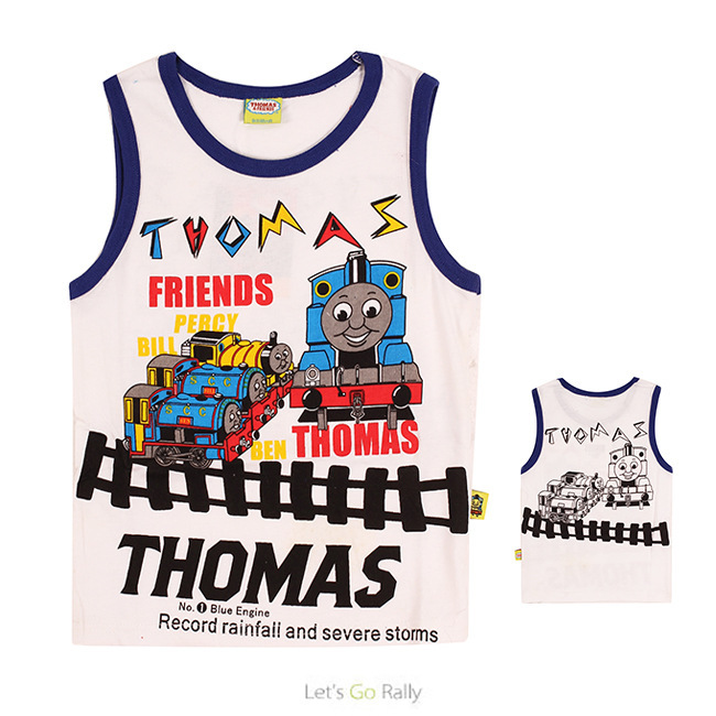 Summer children t shirt 2015 new short sleeve cartoon thomas and friend baby boys t-shirt tank top tees baby kids clothing(China (Mainland))