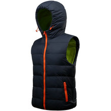 High Quality Autumn Winter Duck Down Vest Men Brand Hood Casual Solid Mens Vest Waistcoat(China (Mainland))
