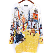 Spring 2016 Fashion and High Quality Women Print Pullover Sweater Long Design Sweater Dress Plus Size Loose Bbasic Sweater B321(China (Mainland))