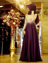 2016 Hot Sale Long A-line Purple Blue Chiffon Evening Dress Gold Lace Top Beaded Waist Long Sleeves Prom Party Gowns R05243