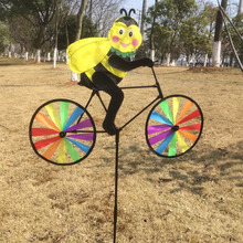 Animal Cycling Shape Creative Multicolor Wind Spinner Whirligig Garden Windmill Cloth for Garden Decor BF(China (Mainland))