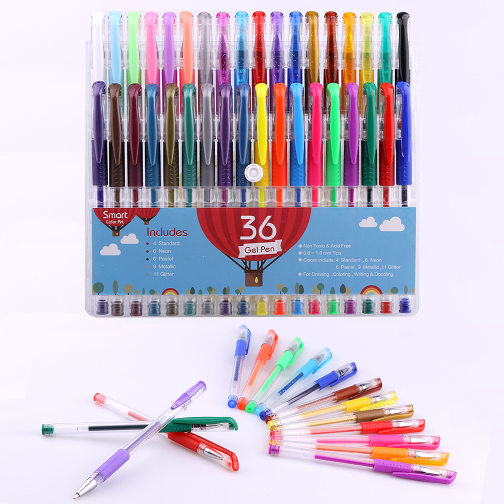 Smart Color Art - 36 Colors Gel Pen Set | Colors Included:Glitter,Neon,Pastel,Standard &amp; Metallic | for Coloring,Drawing,Writing<br><br>Aliexpress