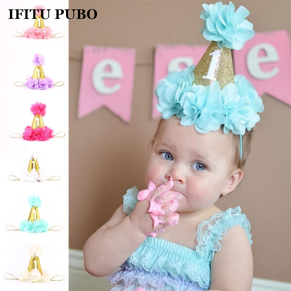 Fashion 1st Brithday Hat Fushia Glitter First Birthday Party Hat Cake Smash Flower Birthday Girls Hat Baby Girls Gold Crown WYQ(China (Mainland))