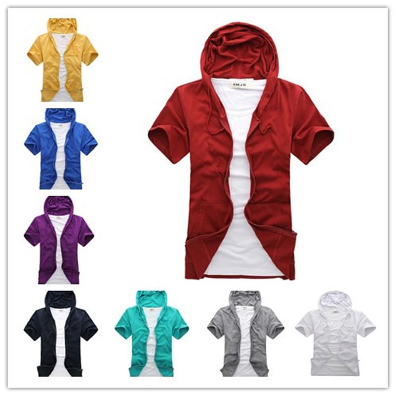 Men T Shirt M-XXL 2015 New Men Hooded 9 Color Men's Tops & Tees Pure Cotton Beautiful Fashion Casual Short-sleeved T-shirt(China (Mainland))
