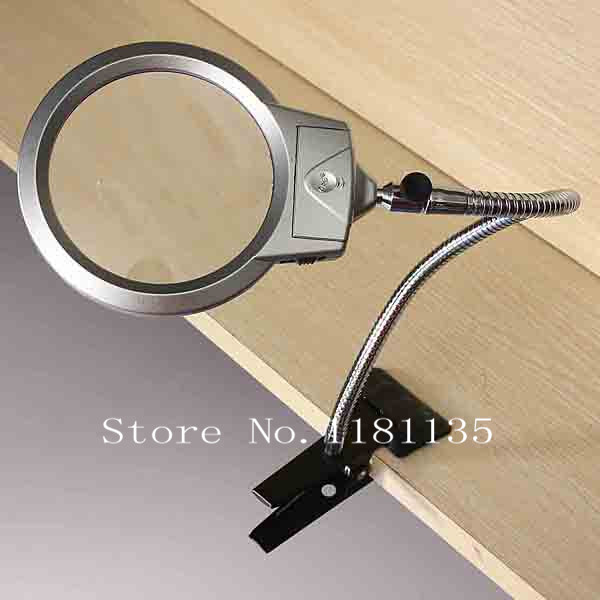 New LED Light 2.25X 5X Magnifying Magnifier Loupe Table Desk Lamp Glass with Clamp 2.25X107MM 5X22MM Free Shipping(China (Mainland))