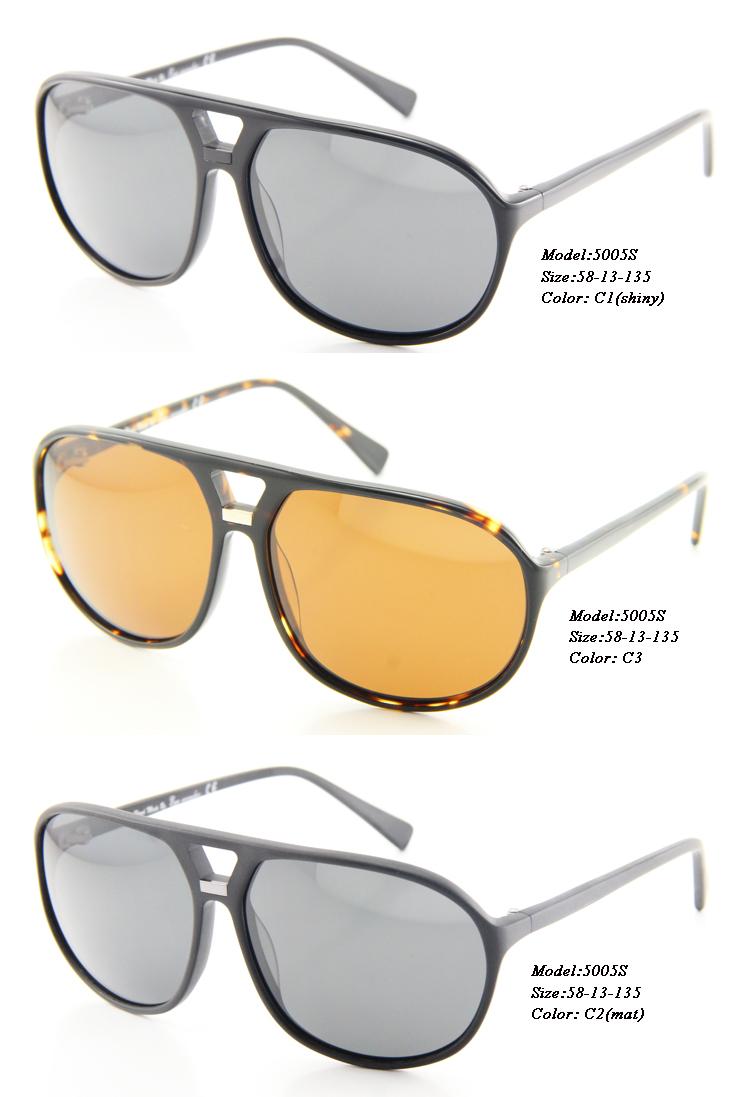 Eye Wonder Wholesale Men's Full Rim Double-Bridged Hand-made Acetate Designer Polarized Black Demi Sunglasses(China (Mainland))
