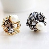 Free Shipping $10 (mix order) 2013 New Fashion Pearl Lace Roses Rings Silver Color (Black) R98 Vintage Jewelry 10g(China (Mainland))