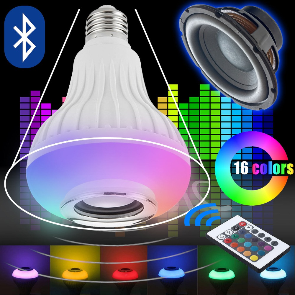 Wireless Bluetooth Speaker +12W RGB Bulb E27 LED Lamp 100-240V 110V 220V Smart Led Light Music Player Audio with Remote Control(China (Mainland))