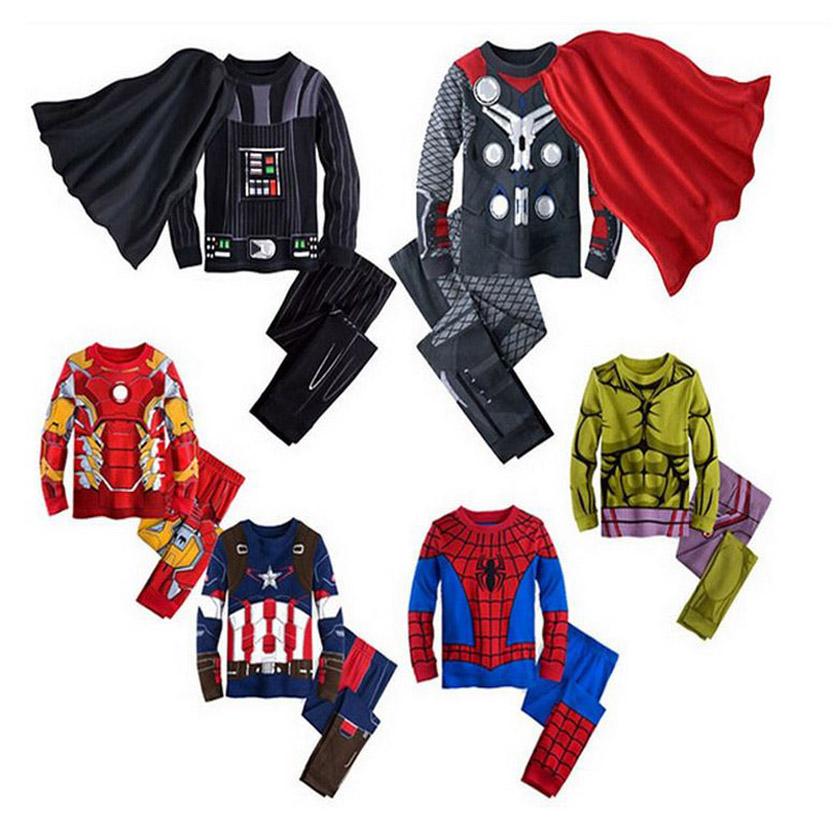 2017 spring kids pajamas clothes for boys Iron man Hulk superhero Batman costume Spiderman children sleeping wear clothing sets(China (Mainland))