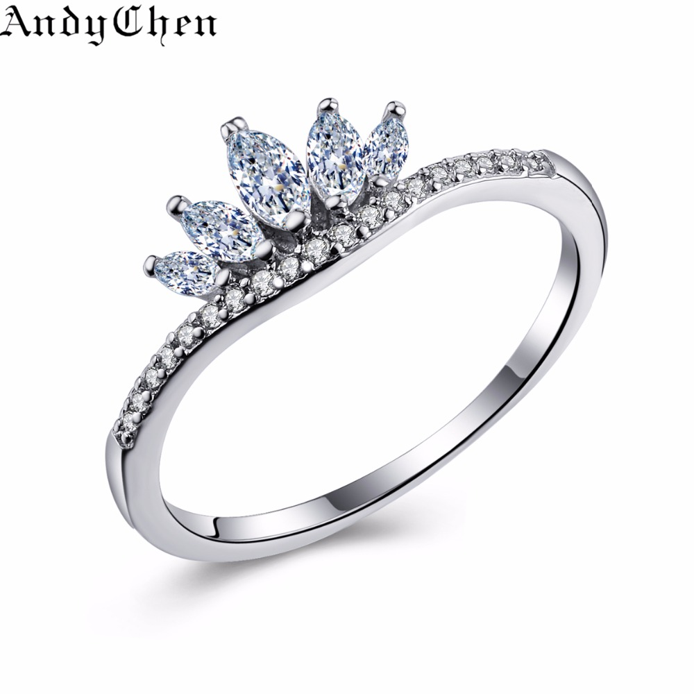 AndyChen Luxury Crown Silver Plated Engagement Rings For Women Crystal Jewelry Wedding Bague Bijoux Femme Ring ASR322(China (Mainland))