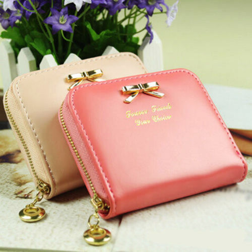 HOT Style Colorful Women Lady Fashional Mini Faux Leather Bowknot Purse Zip Around Wallet Card Holders Handbag Short Small Purse(China (Mainland))