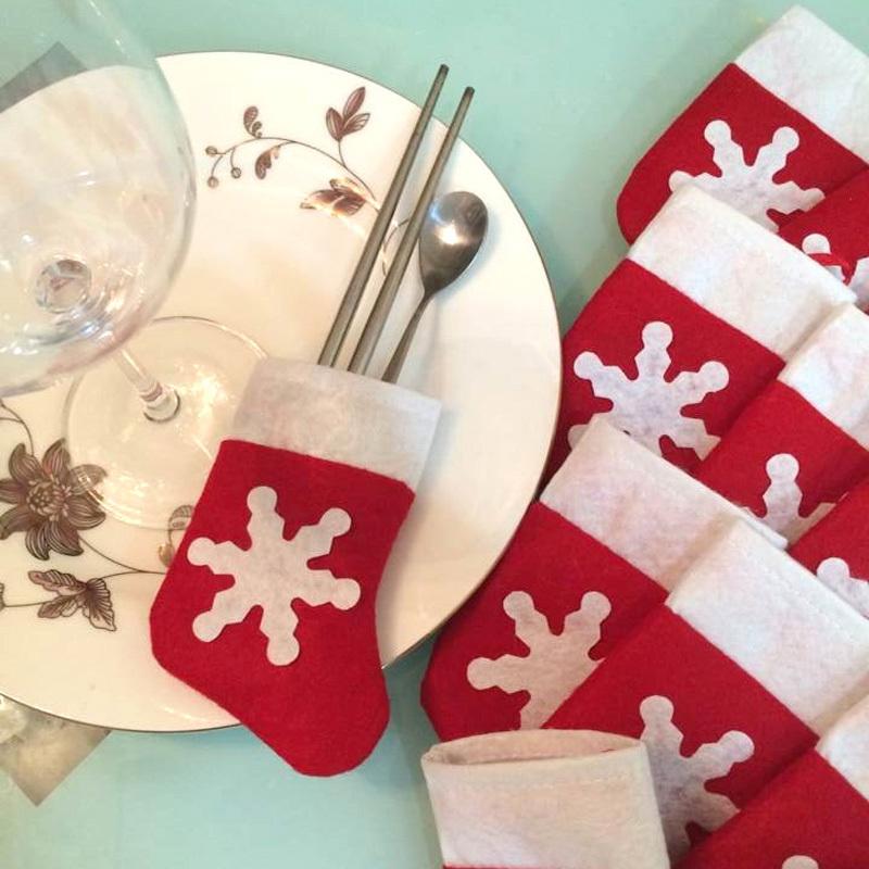 12 Pieces/Set Mini Christmas Stockings Christmas Decoration Supplies Christmas Decorations Festival Party Ornament(China (Mainland))