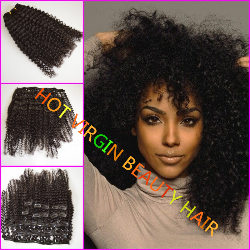 Гаджет  Cheap price virgin brazilian clip on hair extensions,8-24inch 3b/3c clip-ins hair extensions,unprocessed afro kinky clip-ins 8A None Волосы и аксессуары