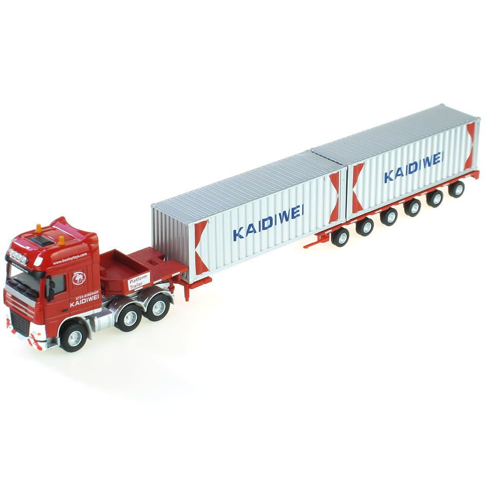 Free shipping Kaidi Wei alloy truck models 1:50 625022 Container cargo type flatbed semi-trailer trucks Toys(China (Mainland))
