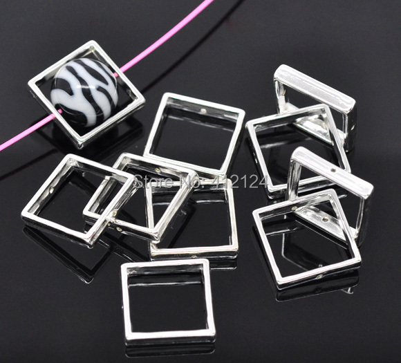 500Pcs Wholesale DIY Square Spacer Beads Frames Silver Plated Fashion Jewelry Making Component Findings 20x20mm<br><br>Aliexpress