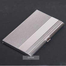 WHOLESALE Men and Women 100% stainless steel card case,Fashion stripe metal card holders Promotion gifts Free shipping(China (Mainland))