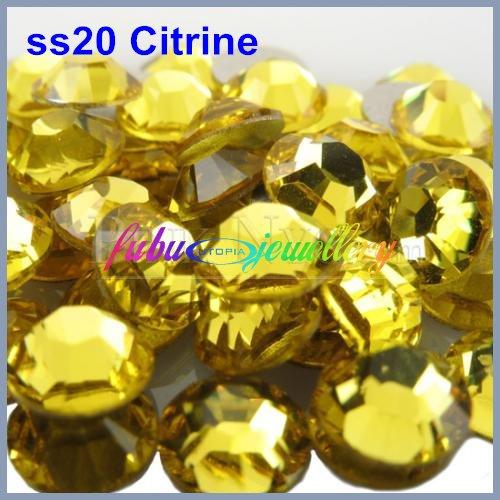 Free Shipping! 1440pcs/Lot, ss20 (4.8-5.0mm) Citrine Flat Back Nail Art Non Hotfix Glue On Rhinestones(China (Mainland))