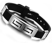 Silicone Rubber Silver Stainless Steel Bracelet, Adjustable Strip Grain Man Male Bracelet Wholesale Jewelry(China (Mainland))
