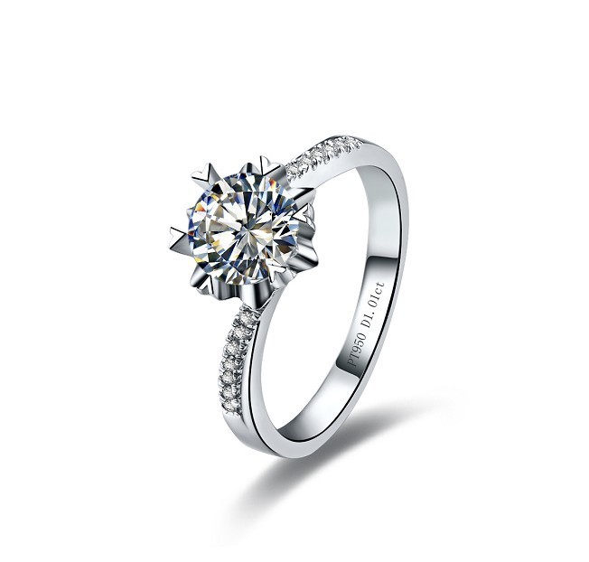 Classic Snowflake Paved Semi Mounting SONA Synthetic Diamond Wedding Ring For Bridal Jewelry Wholesale 925 Silver Pt950 Stamped(China (Mainland))