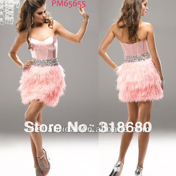 Glam And Sexy Short/Mini Scoop Neckline Corset Bodice Jewel Encrusted Belt Pink Feather Cocktail Dress(China (Mainland))