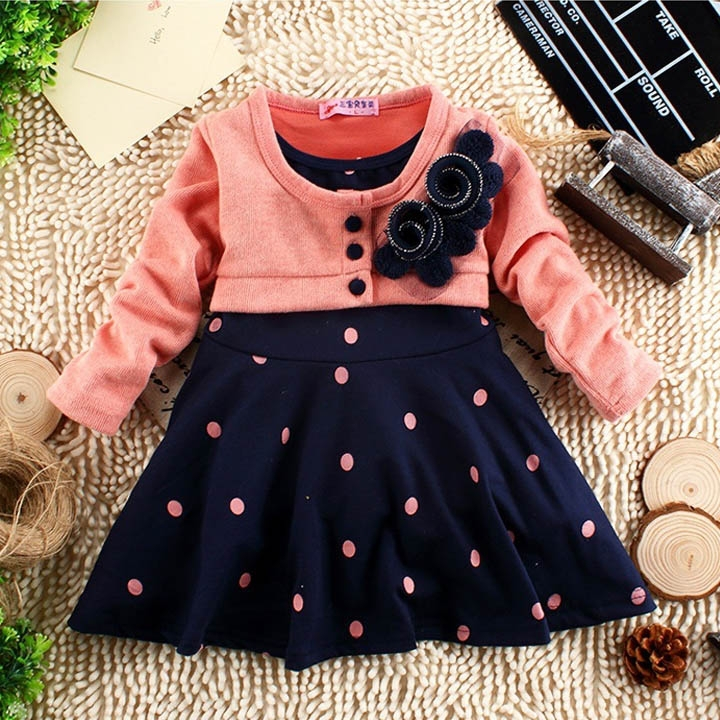 New 1-5 Years Child Clothing Children Clothes Corsage Girl polka dot Dresses Baby Princess Dress Pink/Rose Red B11 SW005851(China (Mainland))