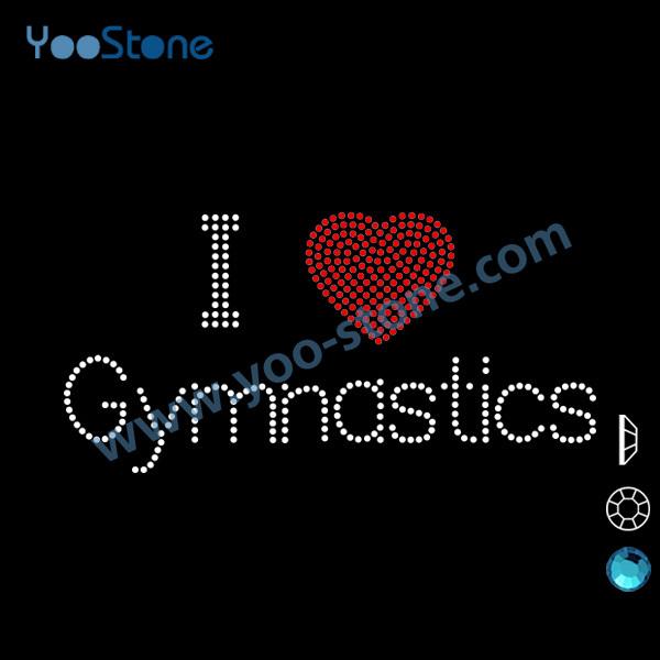 Very Cheap I Love Gymnastics Rhinestone Transfer Iron On Customize Free Shipping For DIY t Shirt(China (Mainland))