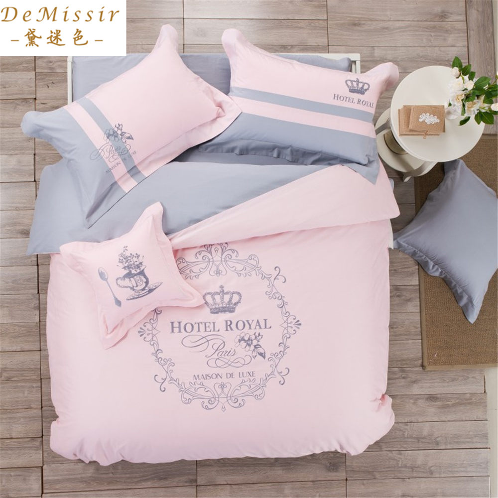 New cotton pink crown girl bedding set king queen size for Housse de duvet