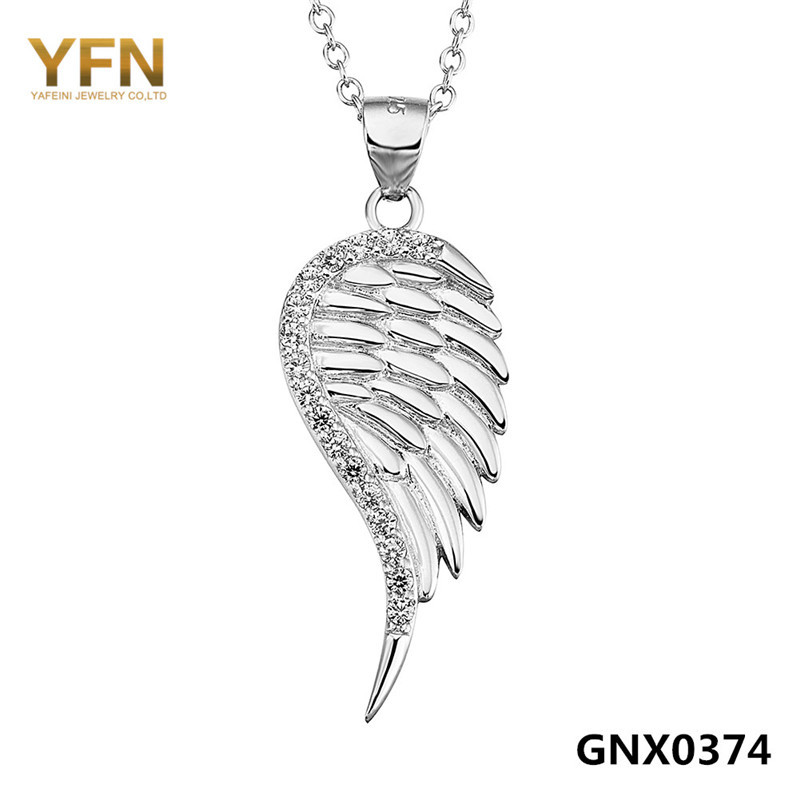 Wholesale GNX0374 Genuine 925 Sterling Silver Necklace Fashion Jewelry Cubic Zirconia Angel Wing Pendant Necklace For Women(China (Mainland))