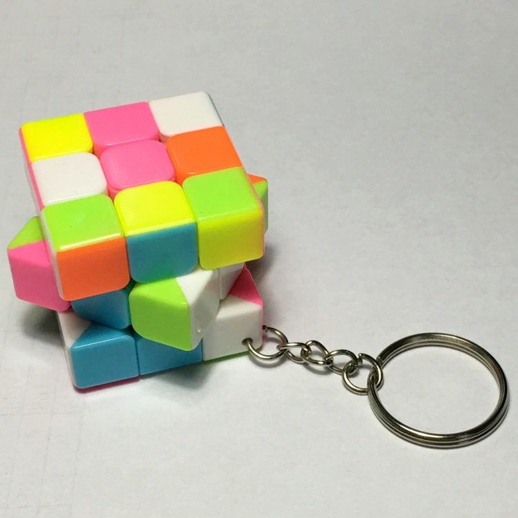 2016 New listing 3.5cm Mini Magic Cube 3x3x3 PinkyColor Key Chain Puzzle Cube Classical Toy Factory Outlet(China (Mainland))